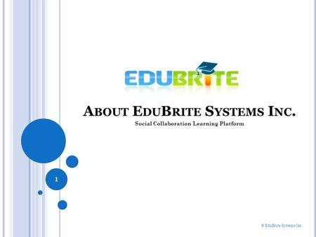 A BOUT E DU B RITE S YSTEMS I NC. 1 © EduBrite Systems Inc. Social Collaboration Learning Platform.