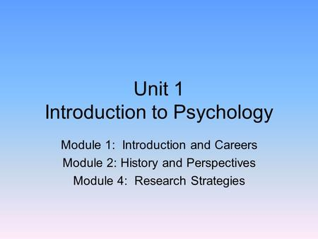 Unit 1 Introduction to Psychology Module 1: Introduction and Careers Module 2: History and Perspectives Module 4: Research Strategies.
