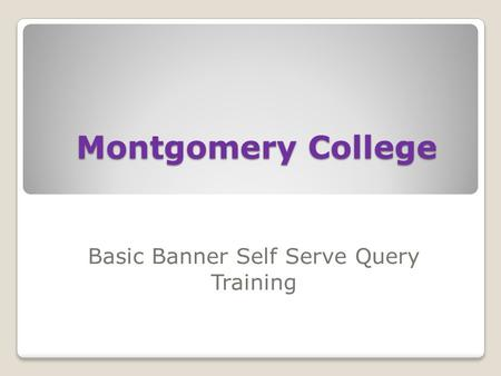 Montgomery College Basic Banner Self Serve Query Training.