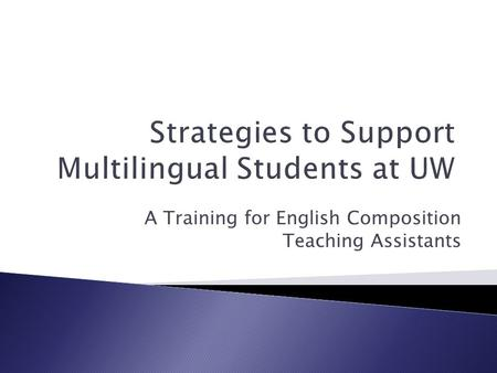 A Training for English Composition Teaching Assistants.
