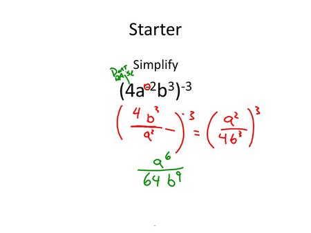 Starter Simplify (4a -2 b 3 ) -3. Polynomials Polynomial a n x n + a n-1 x n-1 +….. + a 2 x 2 + a 1 x + a 0 Where all exponents are whole numbers –