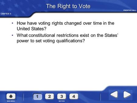 CHAPTER 6 The Right to Vote How have voting rights changed over time in the United States? What constitutional restrictions exist on the States' power.