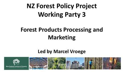 NZ Forest Policy Project Working Party 3 Forest Products Processing and Marketing Led by Marcel Vroege.