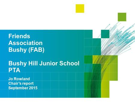 Friends Association Bushy (FAB) Bushy Hill Junior School PTA Jo Rowland Chair's report September 2015.