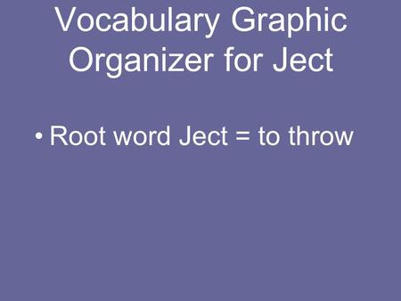 Vocabulary Graphic Organizer for Ject Root word Ject = to throw.