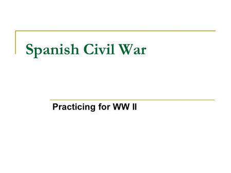 Spanish Civil War Practicing for WW II. IB Questions… Paper 2 Topic 1 What were the most frequent causes of 20 th century wars? Specific evidence from.
