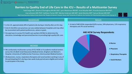 Barriers to Quality End of Life Care in the ICU – Results of a Multicenter Survey Todd Sarge MD 1 ; Sharon O'Donoghue RN MS CNS 1 ; Lynn Mackinson RN MS.