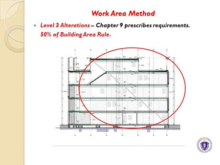 Work Area Method Level 3 Alterations – Chapter 9 prescribes requirements. 50% of Building Area Rule.