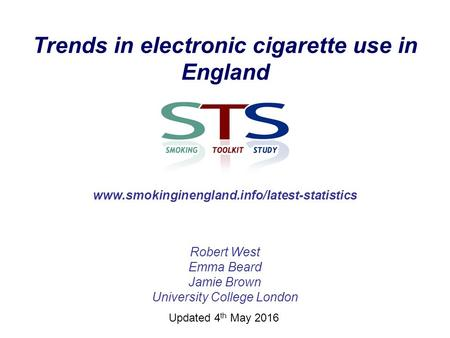 Trends in electronic cigarette use in England Robert West Emma Beard Jamie Brown University College London www.smokinginengland.info/latest-statistics.