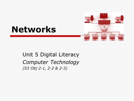 Networks Unit 5 Digital Literacy Computer Technology (S3 Obj 2-1, 2-2 & 2-3)