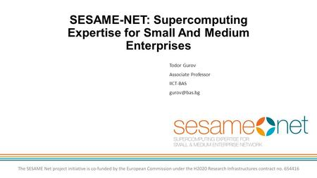 SESAME-NET: Supercomputing Expertise for Small And Medium Enterprises Todor Gurov Associate Professor IICT-BAS