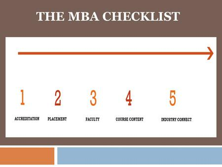 THE MBA CHECKLIST.  A good MBA programme from a good B-School has the potential to widen your knowledge base, perspective,