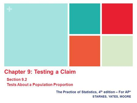 + The Practice of Statistics, 4 th edition – For AP* STARNES, YATES, MOORE Chapter 9: Testing a Claim Section 9.2 Tests About a Population Proportion.