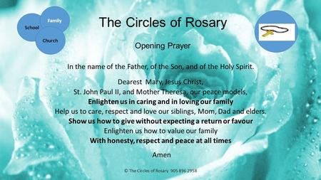 The Circles of Rosary Opening Prayer In the name of the Father, of the Son, and of the Holy Spirit. Dearest Mary, Jesus Christ, St. John Paul II, and Mother.