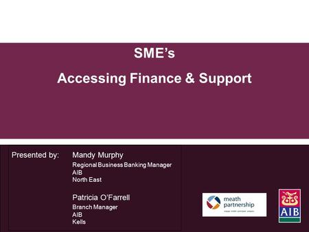 SME's Accessing Finance & Support Presented by: Mandy Murphy Regional Business Banking Manager AIB North East Patricia O'Farrell Branch Manager AIB Kells.