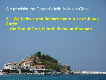 We proclaim the Church's faith in Jesus Christ. All We believe and declare that our Lord Jesus Christ, the Son of God, is both divine and human.