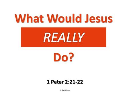 What Would Jesus Do? 1 Peter 2:21-22 By David Dann.