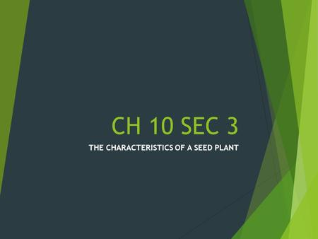 CH 10 SEC 3 THE CHARACTERISTICS OF A SEED PLANT WHAT IS A SEED PLANT?  KEY- SEED PLANTS SHARE TWO IMPORTANT CHARACTERISTICS.  1. THEY HAVE VASCULAR.