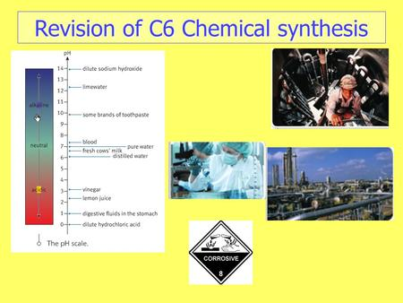 Revision of C6 Chemical synthesis. To provide food additives, fertilisers,, paints, pigments and pharmaceuticals. To provide food additives, fertilisers,