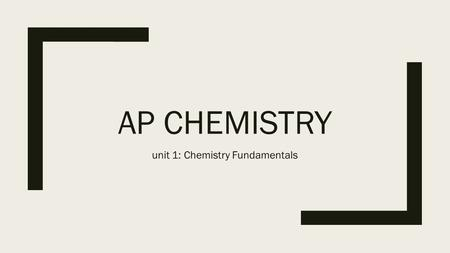 AP CHEMISTRY unit 1: Chemistry Fundamentals. Intro to AP Chemistry September 3 & 4th, 2015 ■Summer Assignment Turn In ■Syllabus ■Check out text books.