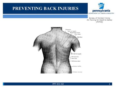 PREVENTING BACK INJURIES Bureau of Workers' Comp PA Training for Health & Safety (PATHS) 1PPT-031-02.