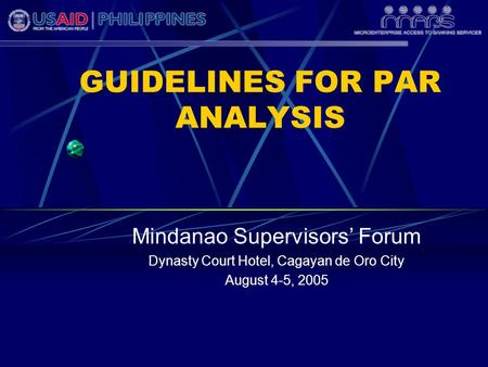 GUIDELINES FOR PAR ANALYSIS Mindanao Supervisors' Forum Dynasty Court Hotel, Cagayan de Oro City August 4-5, 2005.