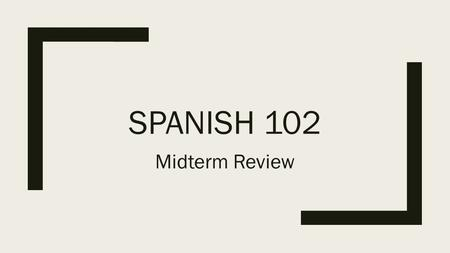SPANISH 102 Midterm Review. Chapter 6 Vocabulary Review: https://quizlet.com/_26awiy https://quizlet.com/_26awiy Chapter 7 Vocabulary Review: https://quizlet.com/_27k0bg.
