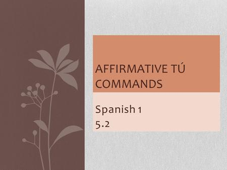 Spanish 1 5.2 AFFIRMATIVE TÚ COMMANDS. If you would like to tell a friend or family member to do something in Spanish (tell me, wash your hands, pass.
