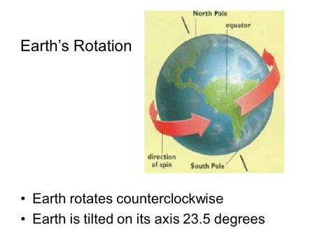 Earth's Rotation Earth rotates counterclockwise Earth is tilted on its axis 23.5 degrees.