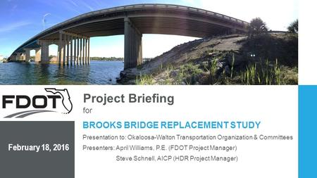 BROOKS BRIDGE REPLACEMENT STUDY February 18, 2016 Project Briefing for Presenters: April Williams, P.E. (FDOT Project Manager) Steve Schnell, AICP (HDR.