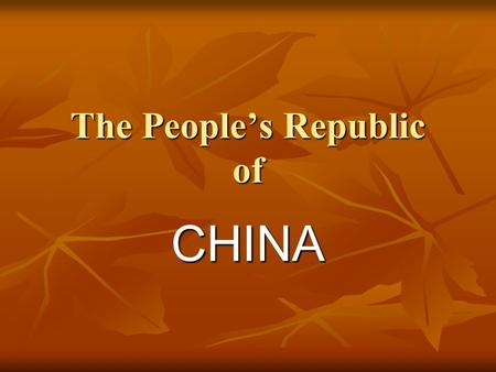 The People's Republic of CHINA. The Chinese Flag.