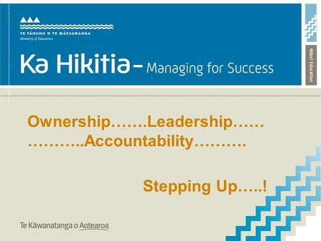Ownership…….Leadership…… ………..Accountability………. Stepping Up…..!