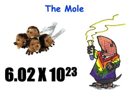 The Mole 6.02 X 10 23 The Mole A counting unit Similar to a dozen, except instead of 12, it's 602 billion trillion 602,000,000,000,000,000,000,000 6.02.