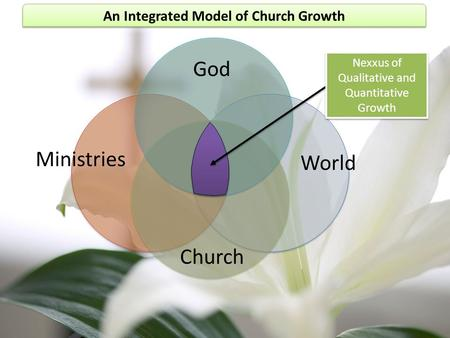 An Integrated Model of Church Growth God World Church Ministries Nexxus of Qualitative and Quantitative Growth.