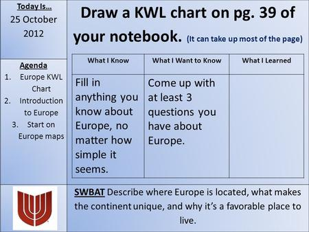 Today Is… 25 October 2012 Draw a KWL chart on pg. 39 of your notebook. (It can take up most of the page) Agenda 1.Europe KWL Chart 2.Introduction to Europe.