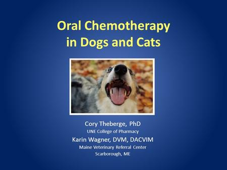 Oral Chemotherapy in Dogs and Cats Cory Theberge, PhD UNE College of Pharmacy Karin Wagner, DVM, DACVIM Maine Veterinary Referral Center Scarborough, ME.