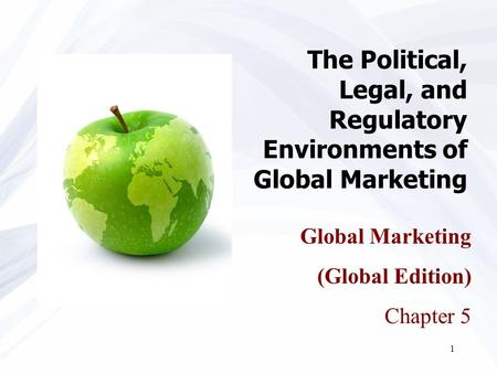 1 The Political, Legal, and Regulatory Environments of Global Marketing Global Marketing (Global Edition) Chapter 5.