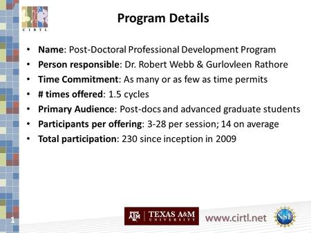 1 Name: Post-Doctoral Professional Development Program Person responsible: Dr. Robert Webb & Gurlovleen Rathore Time Commitment: As many or as few as time.