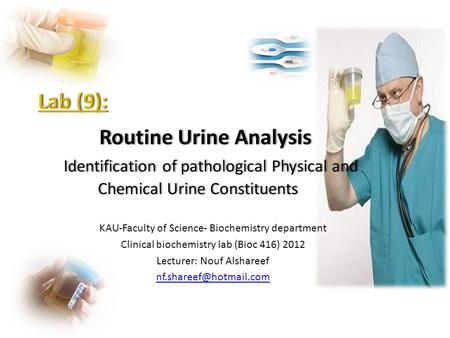 KAU-Faculty of Science- Biochemistry department Clinical biochemistry lab (Bioc 416) 2012 Lecturer: Nouf Alshareef