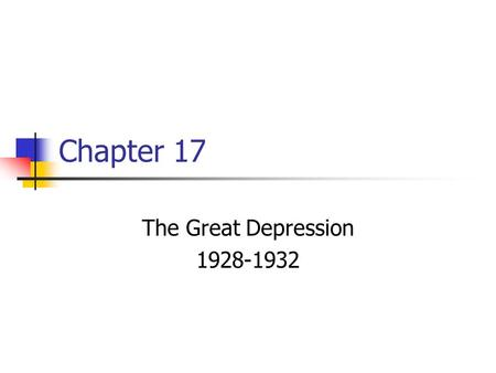 Chapter 17 The Great Depression 1928-1932. As the fun of the Roaring 20's was going on, the economy started to go through some changes. RR – cause of.