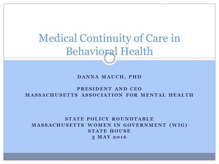 DANNA MAUCH, PHD PRESIDENT AND CEO MASSACHUSETTS ASSOCIATION FOR MENTAL HEALTH STATE POLICY ROUNDTABLE MASSACHUSETTS WOMEN IN GOVERNMENT (WIG) STATE HOUSE.