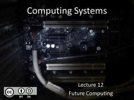 Computing Systems Lecture 12 Future Computing. Natural computing Take inspiration from nature for the development of novel problem-solving techniques.