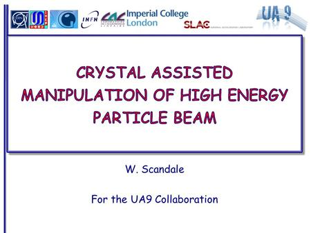 W. Scandale For the UA9 Collaboration.  Historical perspective  RD22 at the CERN-SPS as a test bed of beam extraction at LHC  E853 at the FNAL-Tevatron.
