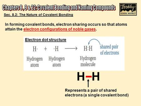 H Represents a pair of shared electrons (a single covalent bond) Sec. 8.2: The Nature of Covalent Bonding In forming covalent bonds, electron sharing occurs.