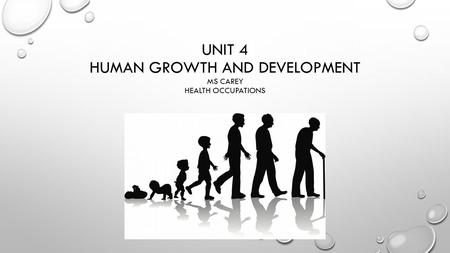 UNIT 4 HUMAN GROWTH AND DEVELOPMENT MS CAREY HEALTH OCCUPATIONS.