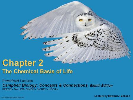 PowerPoint Lectures Campbell Biology: Concepts & Connections, Eighth Edition REECE TAYLOR SIMON DICKEY HOGAN Chapter 2 Lecture by Edward J. Zalisko The.