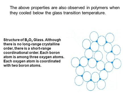 The above properties are also observed in polymers when they cooled below the glass transition temperature. Structure of B 2 O 3 Glass. Although there.
