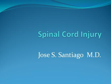 Jose S. Santiago M.D.. Spinal Cord Injury Spinal Cord- from base of skull down to the body of L1 vertebra Divided into 31 segments: Cervical- 8 Thoracic-