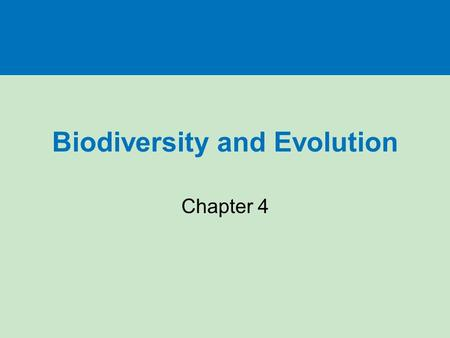 Biodiversity and Evolution Chapter 4. Key Concepts Origins of life Evolution and evolutionary processes Ecological niches Species formation Species extinction.