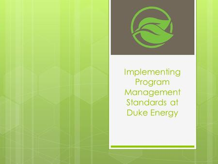 Implementing Program Management Standards at Duke Energy.